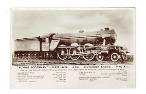 "Railway, Locomotive. RPPC Postcard. ""Flying Scotsman"", London, England To Aberdeen."