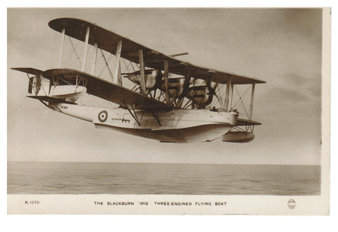 AIRPLANE.  BLACKBURN. 3 ENGINE FLYING BOAT. RPPC. POSTCARD.