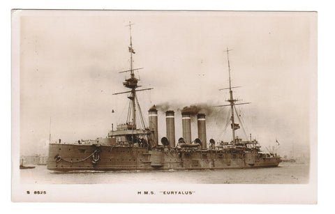 "HMS ""EURYALUS"" RPPC THE CRESSY-CLASS CRUISER. BUILT FOR THE ROYAL NAVY AROUND 1900. VINTAGE POSTCARD."