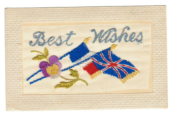 "SILK: WWI (1914-1918) MILITARY/PATRIOTIC FLAGS ""BEST WISHES"". VINTAGE POSTCARD"