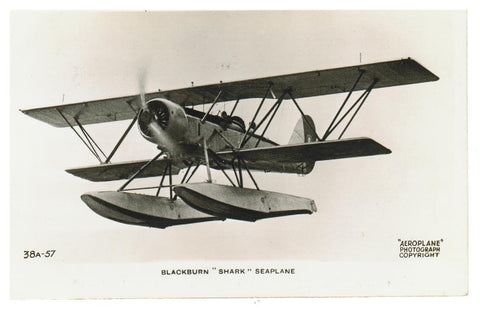 "AIRPLANE.  AIRCRAFT BLACKBURN ""SHARK"" SEAPLANE. POSTCARD"