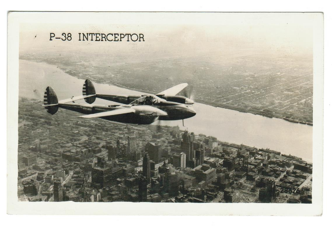 "MILITARY AIRCRAFT VINTAGE RPPC LOCKHEED P-38 WWII INTERCEPTOR.  USA's FIGHTER AIRCRAFT ""THE FORK TAILED DEVIL""."