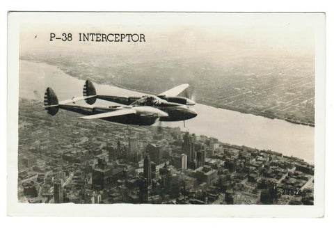 MILITARY AIRCRAFT. RPPC POSTCARD. LOCKHEED P-38 WWII INTERCEPTOR.  USA's FIGHTER AIRCRAFT