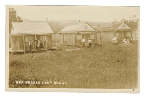 DEEP BROOK, NS. RPPC POSTCARD. 1910s SEA BREEZE COTTAGES. PHOTO: R.N. HARRIS. CANADA.