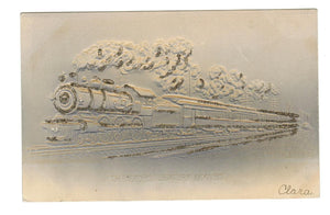 VINTAGE 1906 AIR BRUSH POSTCARD TRAIN LOCOMOTIVE WITH SMOKE & PASSENGER CAR.