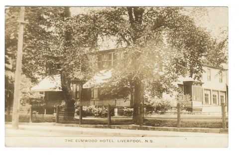 LIVERPOOL, NS. THE ELMWOOD HOTEL. RPPC POSTCARD. HALIFAX. 120 YEAR OLD STRUCTURE. CANADA