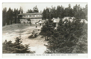 WHITE POINT BEACH, NS. RPPC POSTCARD.  MAIN HOUSE & CABINS FACING THE SURF. CANADA