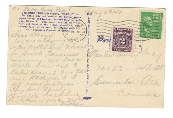 ELLANSBURG, WASHINGTON. VINTAGE LINEN POSTCARD.  WITH 2c POSTAGE DUE TO EDMONTON
