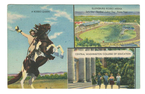 ELLANSBURG, WASHINGTON. VINTAGE LINEN POSTCARD.  WITH 2c POSTAGE DUE TO EDMONTON. U.S.A.