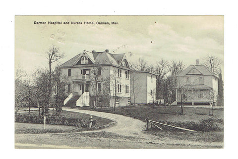 Carman, MB. Hospital And Nurses Home. Canada Postard. Rumsey Publ.