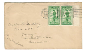 WELLINGTON NEW ZEALAND. 1936 TIED S.S. MARIPOSA. TO YOUNG SASKATCHEWAN. MILITARY STAMPS.