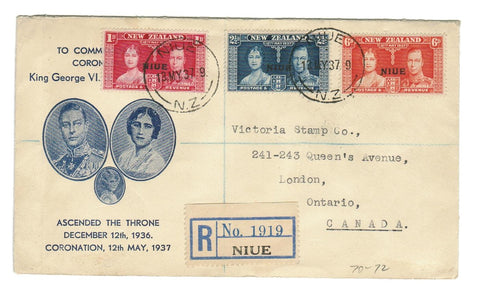 NIUE, NEW ZEALAND. OVER PRINT. REGISTERED MAY 13, 1937. CORONATION TO LONDON, ONTARIO, CANADA.