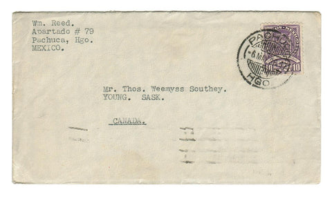 PACHUCA HGO (HIDAGO) MEXICO 1936 COVER WITH LETTER CONTENTS TO THOS. SOUTHEY.