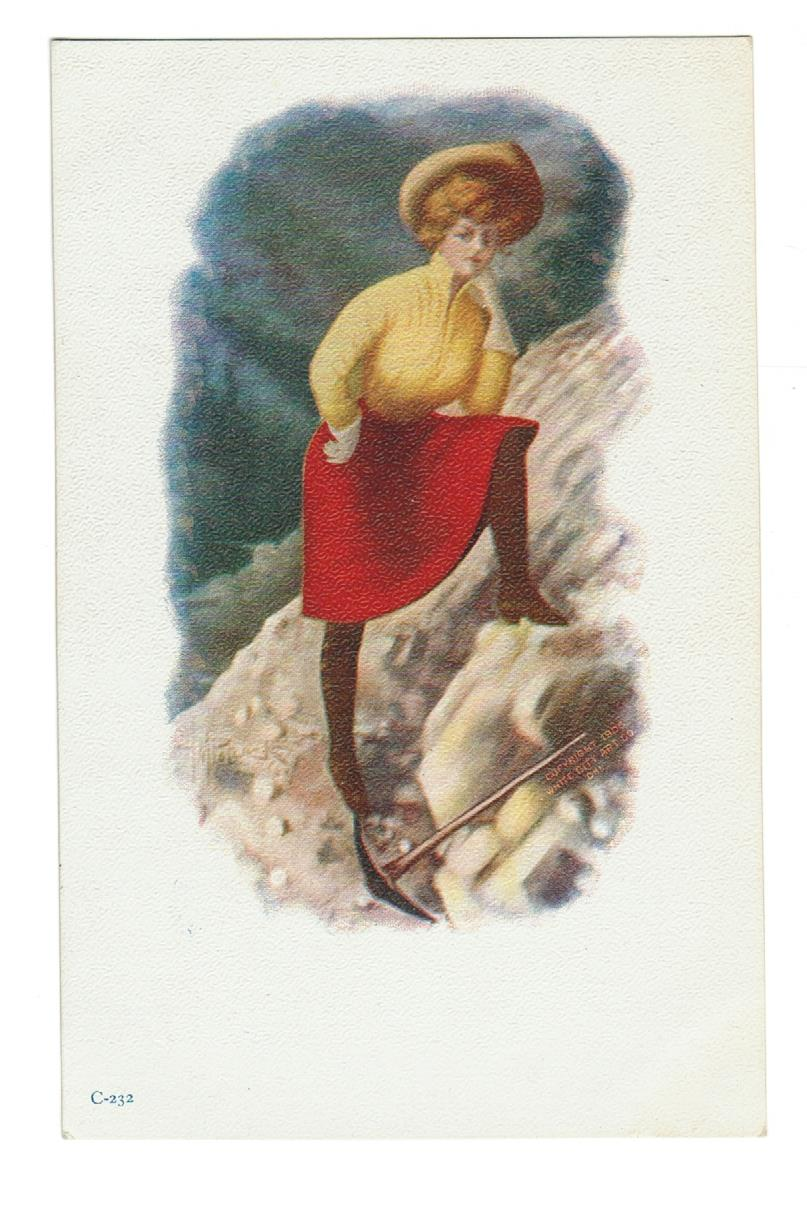 ARTIST SIGNED VINTAGE POSTCARD BY HOMER M. POLLOCK.  GLAMOUR GIRL HIKING #C-232.