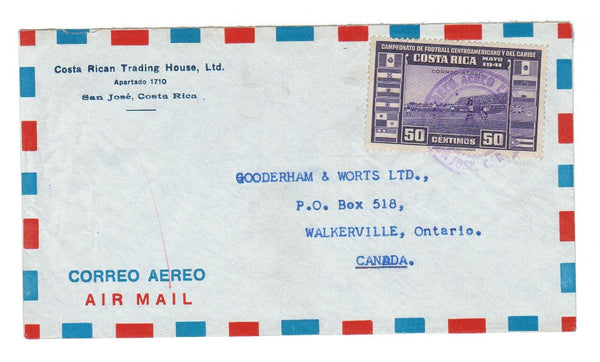 "SAN JOSE, COSTA RICA ADVERTISING COVER ""TRADING HOUSE"" AIRMAIL TO WALKERVILLE ON."