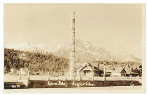 ALBERTA JASPER VINTAGE REAL PHOTO POSTCARD SHOWING TOWN SITE AND TOTEM POLE NO. 20