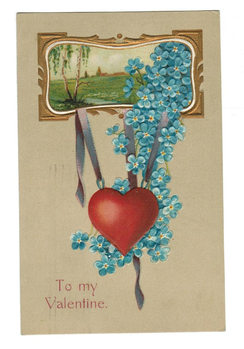 VALENTINE GREETING VINTAGE POSTCARD 1911 EMBOSSED, HEART, FORGET-ME-KNOTS.