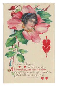 "VALENTINE GREETING VINTAGE POSTCARD VERSE ""IF I WERE A ROSE..."""
