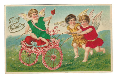 VALENTINE GREETING VINTAGE POSTCARD 1911 EMBOSSED WITH SILK GARMENTS, CUPIDS, HEARTS.