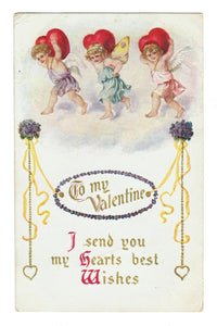 VALENTINE GREETING VINTAGE POSTCARD CUPIDS & HEARTS. EMBOSSED