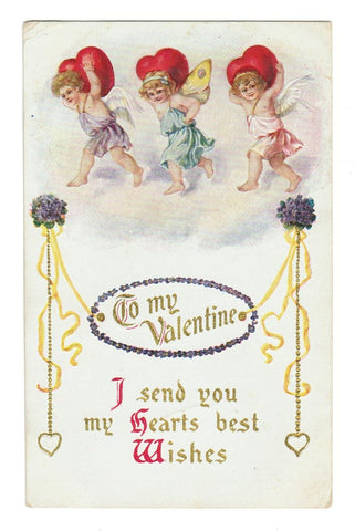 VALENTINE GREETING: VINTAGE POSTCARD. CUPIDS & HEARTS. EMBOSSED