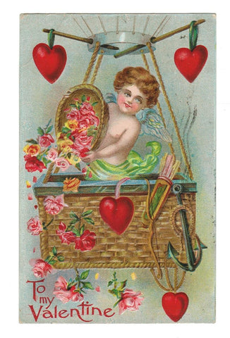 VALENTINE GREETINGS VINTAGE POSTCARD 1910 HEAVILY EMBOSSED CUPID & HEARTS.