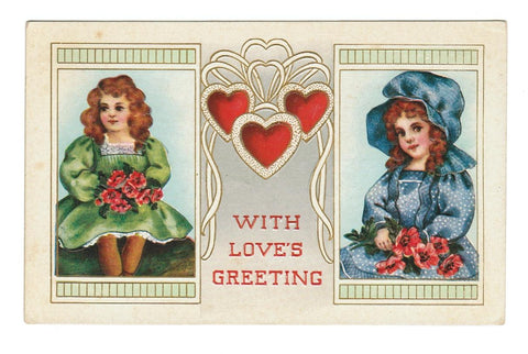 VALENTINE GREETING VINTAGE POSTCARD 1911 EMBOSSED PRETTY GIRLS, HEARTS.