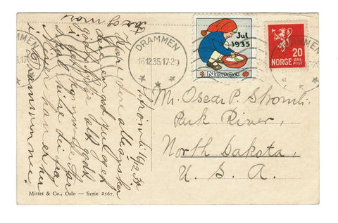DRAMMEN NORWAY VINTAGE CHRISTMAS GREETING POSTCARD 1935 WITH TUBERCULOSIS LABEL