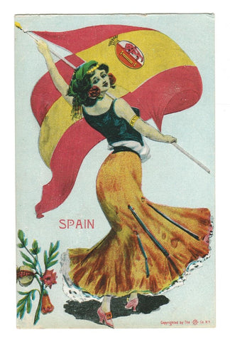 VINTAGE GLAMOUR PATRIOTIC POSTCARD. SPAIN NATIONAL FLAG SERIES 1900's