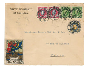 STOCKHOLM, SWEDEN 1897 TO PARIS FRANCE. WITH MULTICOLORED EXPOSITION LABEL