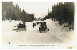 ALASKA HIGHWAY REAL PHOTO POSTCARD SNOW CLEARING BY GRADERS NEAR LITTLE ATLIN LAKE