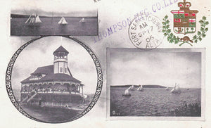 "PATRIOTIC PRIVATE POSTCARD 1900'S SAINT JOHN NEW BRUNSWICK N.B. ""YACHTING & R.N.Y.C CLUB HOUSE"" HAND STAMP ""THOMPSON MFG CO."""