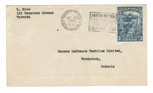#208 CARTIER (3c) SINGLE FRANKED COVER JULY 31st, 1934 CANADIAN NATIONAL EXHIBITION