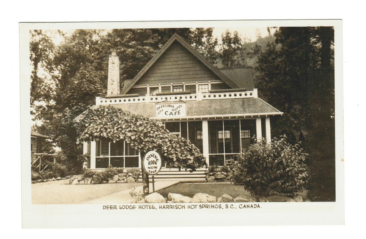 HARRISON HOT SPRINGS, BC. DEER LODGE HOTEL WITH DINER. RPPC POSTCARD. CANADA