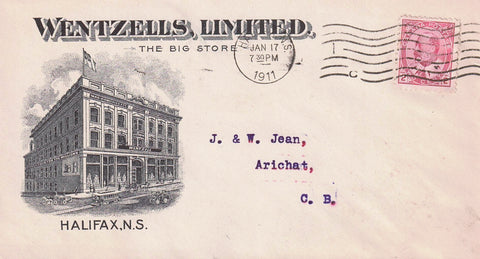 "HALIFAX NOVA SCOTIA N.S. 1917 ADVERTISING COVER ""WENTZELLS LIMITED"" TO ARICHAT C.B. CANADA B/S"