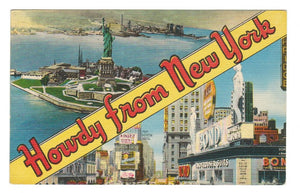 "BIG LETTERS. LINEN POSTCARD. ""HOWDY FROM NEW YORK""  SELECTED VIEWS. USA"