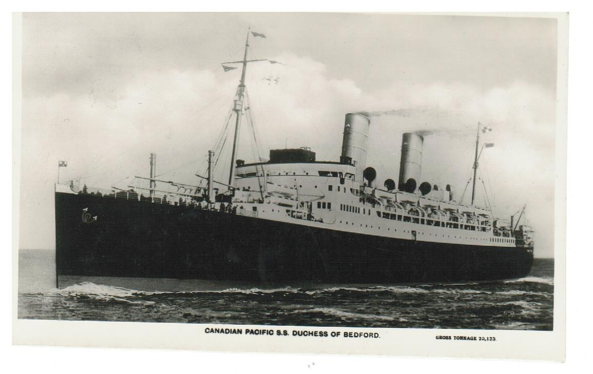SHIP POSTCARD.  CANADIAN PACIFIC.  S.S DUCHESS OF BEDFORD. RPPC.