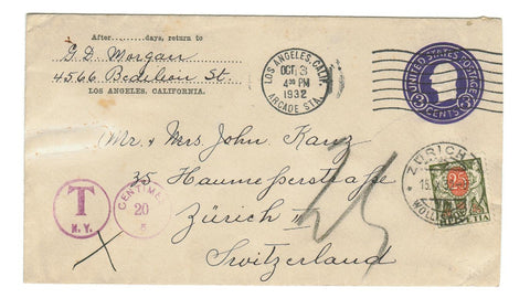 POSTAGE DUE SWITZERLAND 1932 TO ZURICH