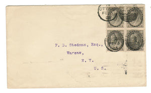 NUMERAL ISSUE. QV #74 (BLK OF 4) HALF CENT, DOUBLE STRIKE, OTTAWA DUPLEX 1893 ON COVER.