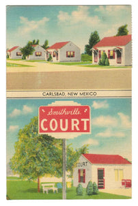 LINEN POSTCARD CARLSBAD NEW MEXICO SMITHVILLE COURT US HIGHWAY 180
