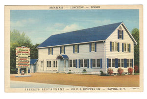 DINER  FREESE'S RESTAURANT  ICE CREAM  RAVENA NEW YORK  VINTAGE LINEN POSTCARD.