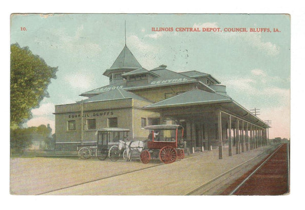 RAILWAY Station  ILLINOIS CENTRAL DEPOT COUNCIL BLUFFS. U.S.
