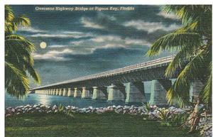 LINEN POSTCARD OVERSEAS HIGHWAY BRIDGE AT PIGEOPN KEY FLORDIA NIGHT SCENE
