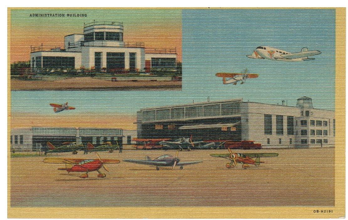 LINEN POSTCARD BOWMAN FIELD MUNICIPAL AIRPORT HILLS GROVE, RI. USA