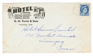 "INVERMAY, SK. ILLUSTRATED 1955 HOTEL ADVERTISING COVER.  ""A MODERN HOTEL SERVICE"". CANADA"