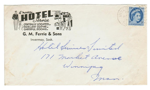 "INVERMAY SASKATCHEWAN ILLUSTRATED 1955 HOTEL ADVERTISING COVER ""A MODERN HOTEL SERVICE""."