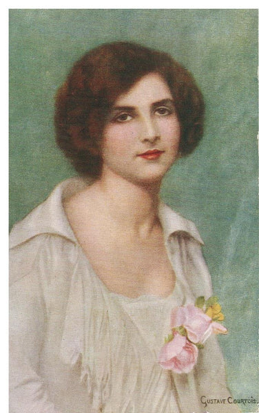 BEAUTY'S EYES. ARTIST GUSTAVE COURTOIS POSTCARD.