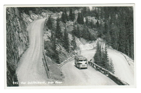 "HARMON #945  ""THE SWITCHBACK  YOHO ROAD.""  BRITISH COLUMBIA  BUS  RPPC"