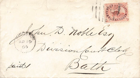 First Cents Issue Cover. No 15. Kingston, ON. C.W. To Bath C.W. 1865. Canada