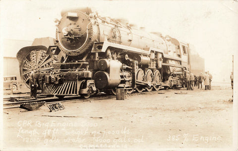 CPR Big Engine Locomotive 5900. RPPC Postcard.